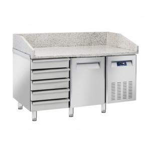 Tavolo Refrigerato Ventilato per Pizzeria 1 Porta + Cassettiera Neutra - Piano in Granito - Lt 220