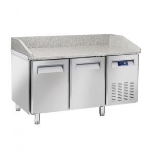 Tavolo Refrigerato Ventilato per Pizzeria 2 Porte - Piano in Granito - Lt 430