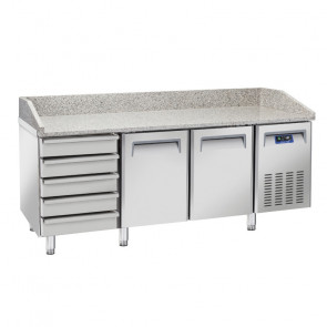 Tavolo Refrigerato Ventilato per Pizzeria 2 Porte + Cassettiera Neutra - Piano in Granito - Lt 430