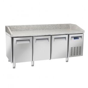 Tavolo Refrigerato Ventilato per Pizzeria 3 Porte - Piano in Granito - Lt 640