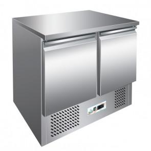 Saladette Refrigerata Statica S901 2 Porte e Piano in Acciaio - Cm 90 x 70 x 87 h - Temp. +2° +8°