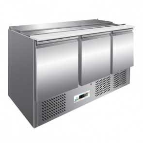 Saladette Refrigerata PS903 3 Porte e Portabacinelle 4 GN1/1 - Temp +2° +8°