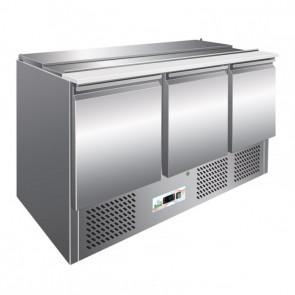 Saladette Refrigerata Statica - 3 Porte - Capacità Bacinelle 4 GN1/1