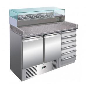 Banco per Pizza S903PZCAS Refrigerato Statico 2 Porte + Cassettiera, con Vetrina Cap. 6 GN 1/4