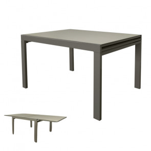 Tavolo Raddoppiabile con Piano in Vetro e Struttura in Acciaio - Cm 120/240 x 90 x 75 h