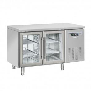 Tavolo Refrigerato Ventilato 2 Porte a Vetro - Profondità Cm 60 - Capacità Lt 230