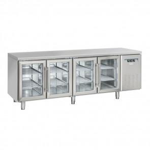 Tavolo Refrigerato Ventilato 4 Porte a Vetro - Profondità Cm 60 - Capacità Lt 485