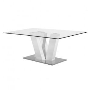 Tavolo in Vetro Temperato e Acciaio - 8 Posti - Cm 180 x 100 x 76 h