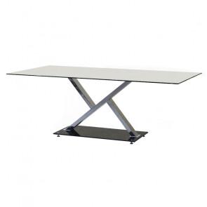 Tavolo in Vetro Temperato e Gambe Geometriche in Acciaio - 10 Posti - Cm 200 x 100 x 75 h