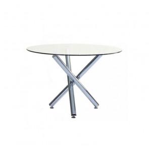 Tavolino Rotondo in Vetro Temperato con Gambe Incrociate - Cm 110 x 75 h