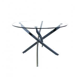 Tavolino Rotondo Estia in Vetro Temperato con Gambe a Tubo Piatto - Cm 110 x 76 h