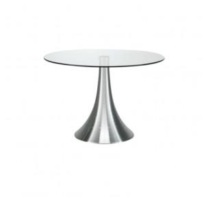 Tavolino Rotondo in Vetro Temperato con Piedistallo Unico - Cm 120 x 72,5 h