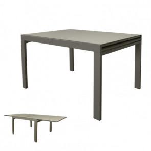Tavolo Raddoppiabile con Piano in Vetro e Struttura in Acciaio - Cm 90/180 x 90 x 75 h