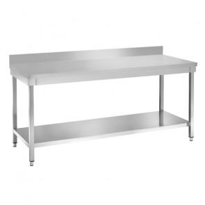 Tavolo da Lavoro in Acciaio Inox con Alzatina - Profondità Cm 70 - Varie Lunghezze