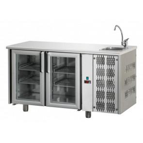 Tavolo Refrigerato 2 Porte GN 1/1 in Vetro con Lavello Destro Cm 142 x 70 x 115 h