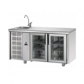 Tavolo Refrigerato 2 Porte GN 1/1 in Vetro con Lavello Sinistro Cm 142 x 70 x 115 h