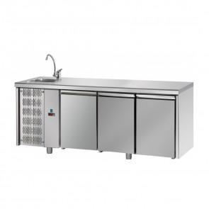 Tavolo Refrigerato 3 Porte GN 1/1 con Lavello Sinistro Cm 187 x 70 x 115 h