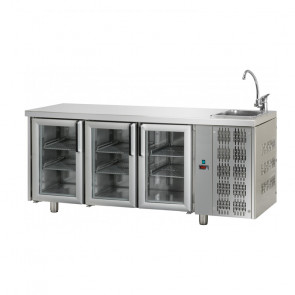 Tavolo Refrigerato 3 Porte GN 1/1 in Vetro con Lavello Destro Cm 187 x 70 x 115 h