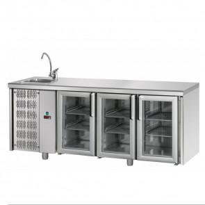 Tavolo Refrigerato 3 Porte GN 1/1 in Vetro con Lavello Sinistro Cm 187 x 70 x 115 h