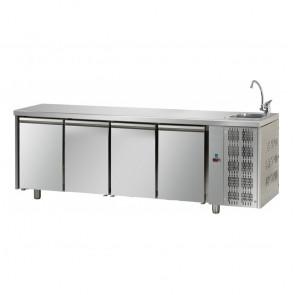 Tavolo Refrigerato 4 Porte GN 1/1 con Lavello Destro Cm 232 x 70 x 115 h