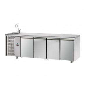 Tavolo Refrigerato 4 Porte GN 1/1 con Lavello Sinistro Cm 232 x 70 x 115 h