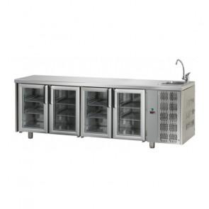 Tavolo Refrigerato 4 Porte GN 1/1 in Vetro con Lavello Destro Cm 232 x 70 x 115 h