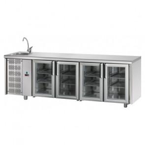 Tavolo Refrigerato 4 Porte GN 1/1 in Vetro con Lavello Sinistro Cm 232 x 70 x 115 h